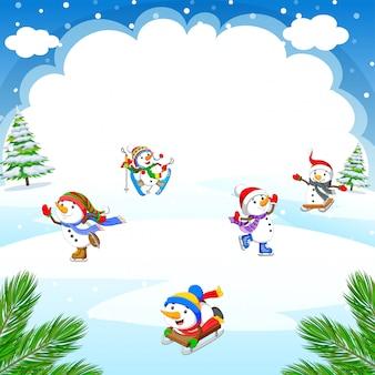 Fundo de natal de inverno com boneco de neve jogando patins de gelo, esqui, passeio de trenó