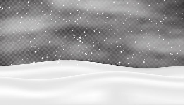Fundo de natal de inverno com neve caindo