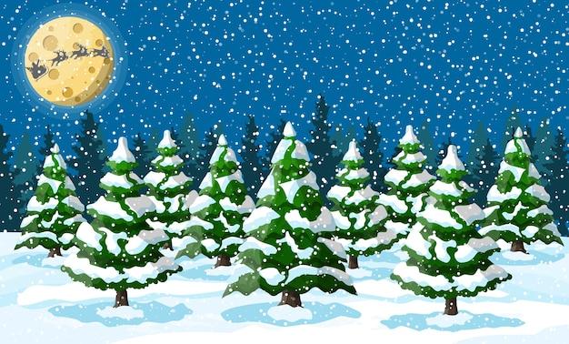 Fundo de natal de inverno. madeira de pinheiro e neve. paisagem do inverno com floresta de abetos e nevando. comemoração de feliz ano novo. feriado de natal de ano novo. ilustração estilo plano