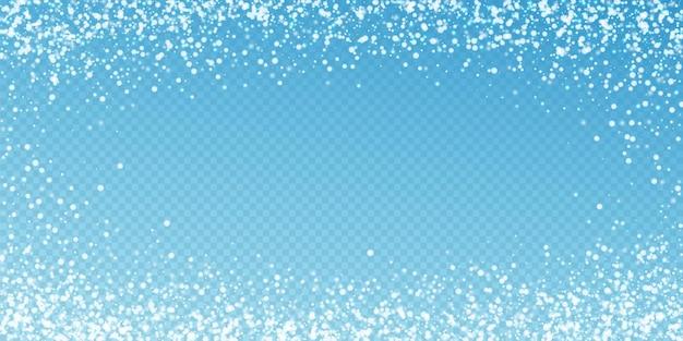 Fundo de natal de neve caindo incrível. flocos de neve voando sutis e estrelas sobre fundo azul transparente. modelo de sobreposição de floco de neve de prata inverno vivo. ilustração em vetor legal.
