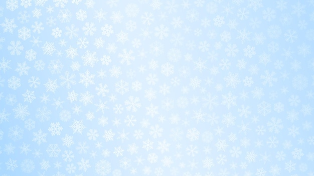 Fundo de natal de pequenos flocos de neve em tons de azul claro