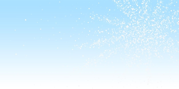 Fundo de natal de pontos brancos aleatórios. flocos de neve voando sutis e estrelas no fundo do céu de inverno. modelo de sobreposição de floco de neve de prata artística de inverno. ilustração do vetor ideal.