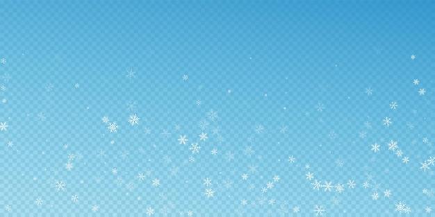 Fundo de natal de queda de neve esparsa. flocos de neve voando sutis e estrelas sobre fundo azul transparente. modelo de sobreposição de floco de neve prateado de inverno autêntico. ilustração extraordinária do vetor.