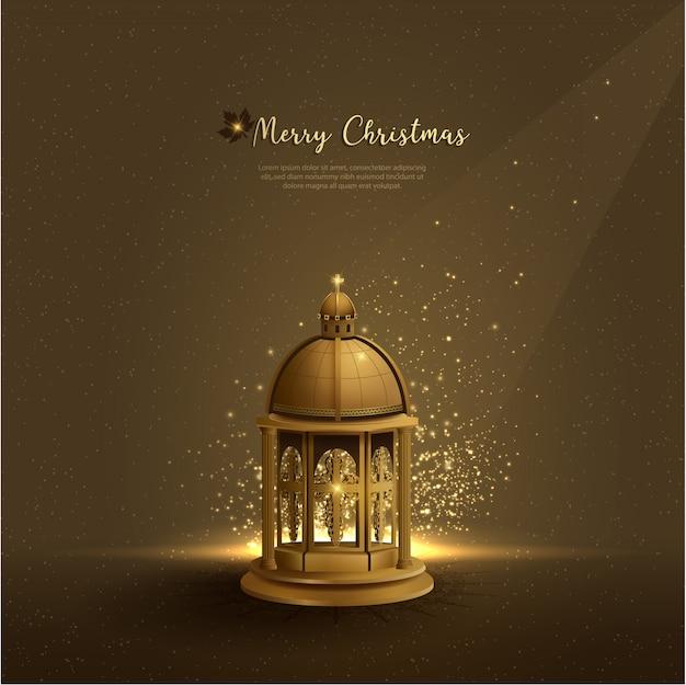 Fundo de natal de saudações de cristianismo com lanternas de igreja dourada
