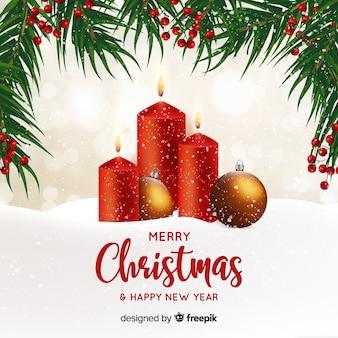 Fundo de Natal de velas realistas