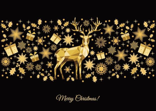 Fundo de natal. decoração da árvore dourada. renas e flocos de neve de natal de ouro. cartão do vetor.