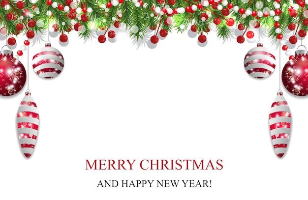 Fundo de natal, decoração de ano novo com ramos de pinheiro