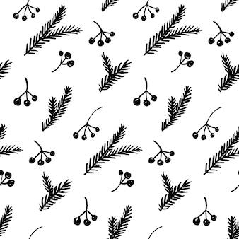 Fundo de natal desenhado à mão ramos e bagas monocromático preto e branco papel de embrulho para presente