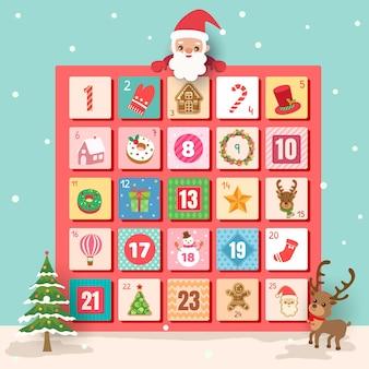 Fundo de natal do calendário do advento com papai noel