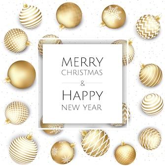 Fundo de natal e ano novo com bolas de ouro, cartão de natal