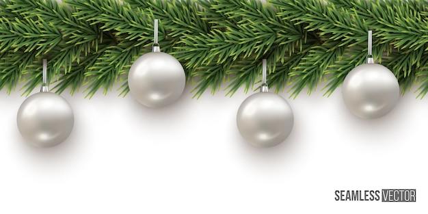 Fundo de natal e ano novo ramo de abeto com padrão horizontal sem costura de bolas de prata