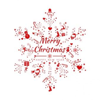 Fundo de natal feliz com banner de ícones de flocos de neve do elemento. ilustração vetorial