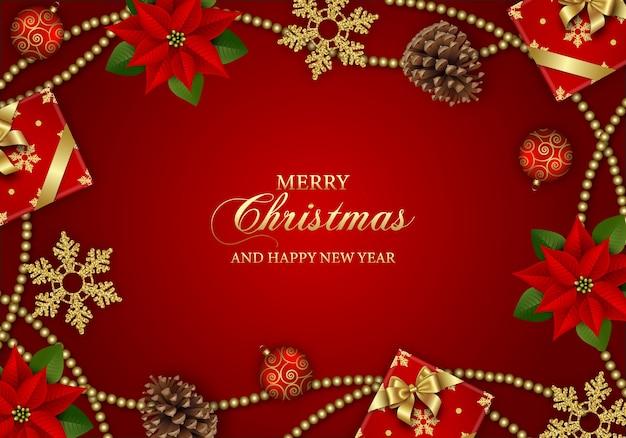 Fundo de natal feliz com flores de poinsétia, caixas de presente, flocos de neve e decorações de natal