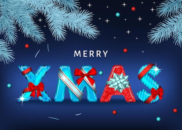 Fundo de natal feliz com letras decorativas vermelhas e azuis com laço de presente, fita e ramo de abeto vermelho prateado. texto de natal. decoração do feriado de inverno. modelo de cartão de saudação de vetor.