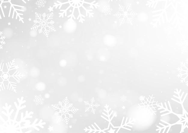 Fundo de natal feliz com luzes brancas de bokeh