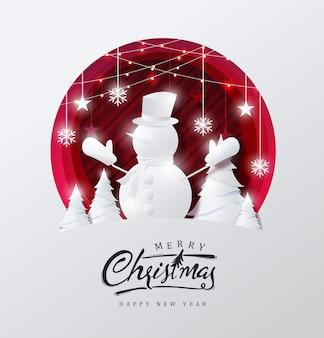 Fundo de natal feliz decorado com boneco de neve em estilo de corte de papel de estrela e floresta.