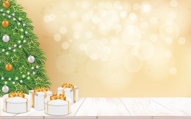 Fundo de natal festivo com árvore de natal e caixa de presente de natal na mesa