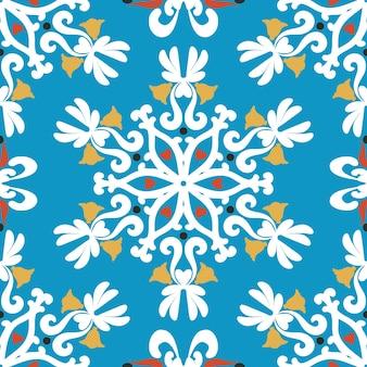 Fundo de natal flocos de neve brancos em um fundo azul ornamento branco sem costura padrão