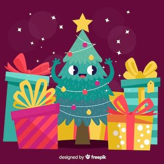 Fundo de natal fofo da árvore de natal