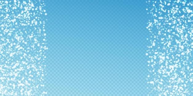 Fundo de natal linda neve caindo. flocos de neve voando sutis e estrelas sobre fundo azul transparente. modelo de sobreposição de floco de neve de prata atraente inverno. ilustração vetorial incrível.