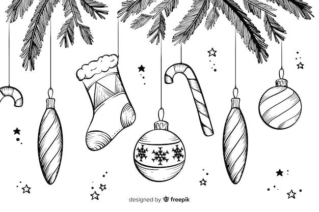 Fundo de natal na mão desenhada