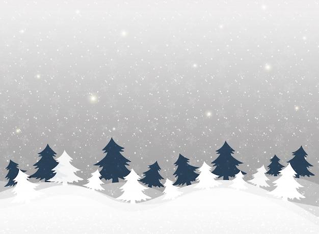 Fundo de natal no padrão de flocos de neve de inverno clara.
