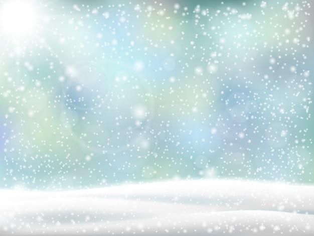 Fundo de natal. paisagem do inverno com monte de neve e neve caindo.