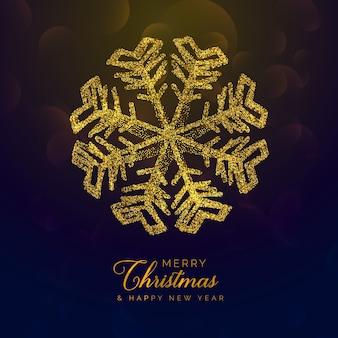 Fundo de natal premium com floco de neve dourado feito com glitre