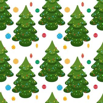 Fundo de natal sem costura com árvore de natal e brinquedos de árvore de natal de vidro