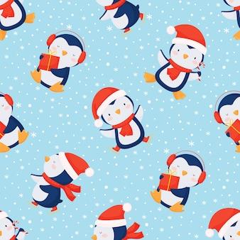 Fundo de natal sem costura com pinguins fofos