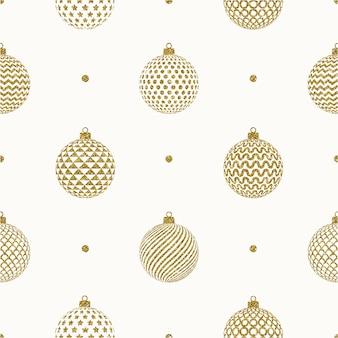 Fundo de natal sem costura - enfeites de natal com padrão de ouro glitter.