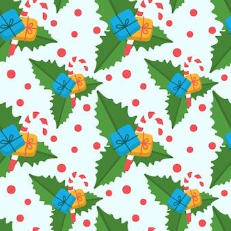 Fundo de natal sem costura vector com folhas de flor de azevinho, presente de ano novo e bastão de doces