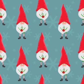 Fundo de natal sem costura vector com um pequeno gnomo com um grande chapéu vermelho