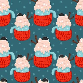 Fundo de natal sem costura vector com uma bebida quente em um porta-copos de lã, canela e chantilly