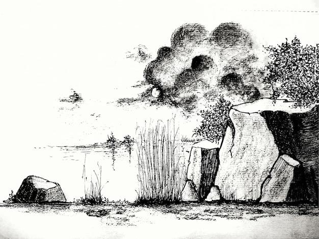 Fundo de natureza abstrata de paisagem em aquarela