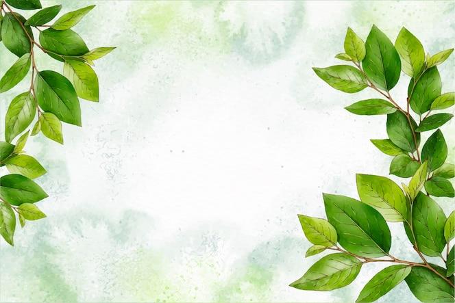 Fundo de natureza aquarela com folhas