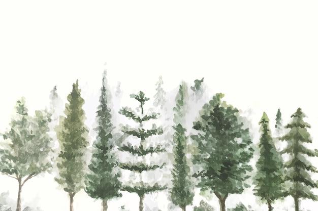 Fundo de natureza aquarela pintado à mão