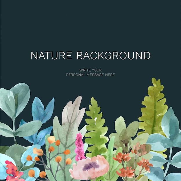 Fundo de natureza com aquarela para design