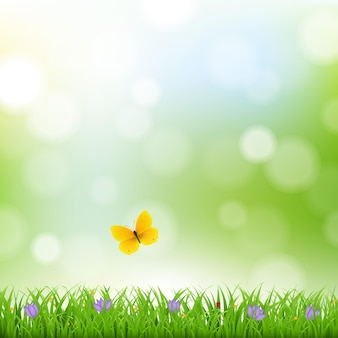 Fundo de natureza com borda de grama e flores com ilustração de malha gradiente