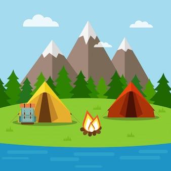 Fundo de natureza com camping, floresta, montanhas e lago