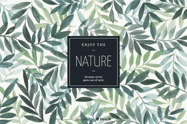 Fundo de natureza com citação