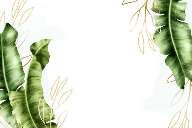 Fundo de natureza com desenho de folha de ouro