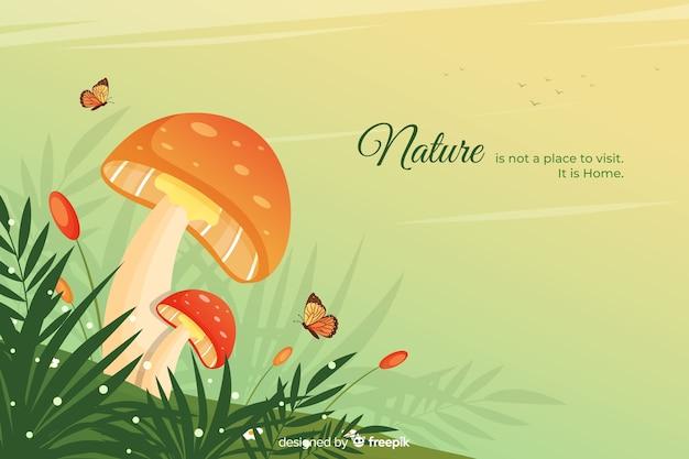 Fundo de natureza com design plano de citação