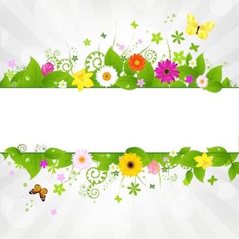 Fundo de natureza com flores e borboletas, ilustração