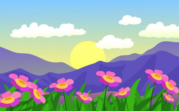 Fundo de natureza com flores em flor