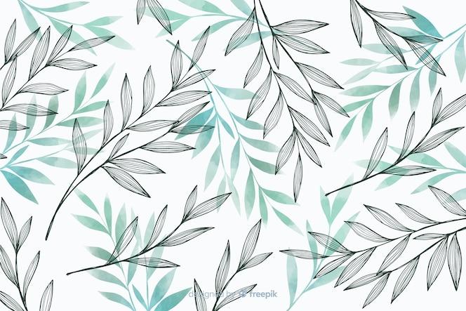 Fundo de natureza com folhas cinza e azuis