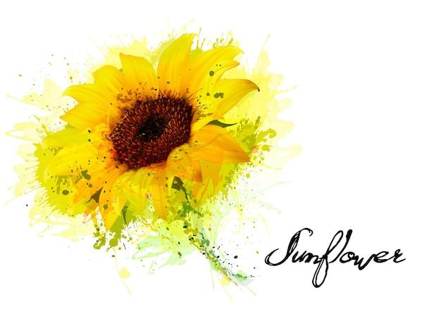 Fundo de natureza com girassol amarelo. vetor
