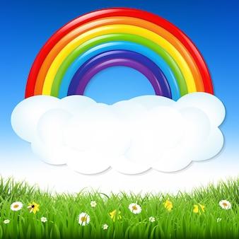 Fundo de natureza com grama e arco-íris com ilustração de malha gradiente