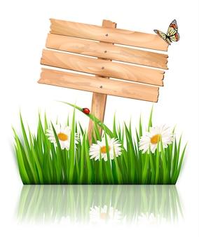 Fundo de natureza com grama verde, flores e placa de madeira