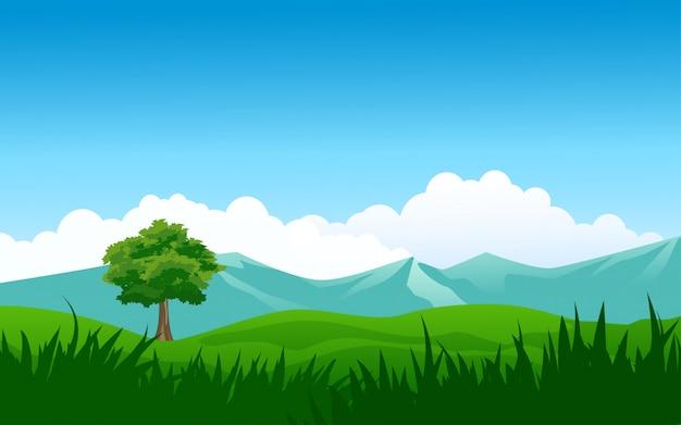 Fundo de natureza com montanha e campo
